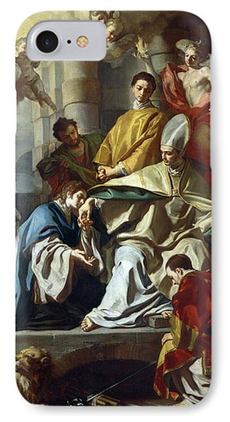 Saint Januarius Visited In Prison By Proculus And Sosius IPhone Case by Francesco Solimena