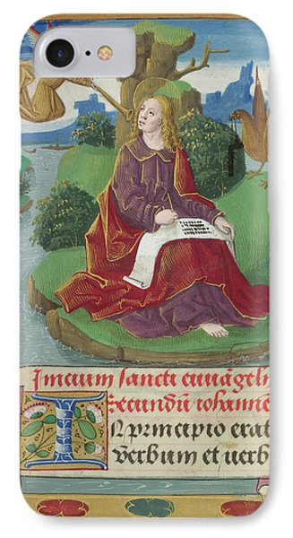 St John Writing His Gospel IPhone Case by British Library