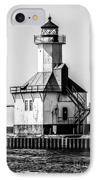 St. Joseph Lighthouse Black And White Picture  Phone Case by Paul Velgos