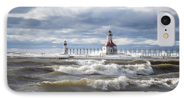 St Joseph Lighthouse On Windy Day IPhone Case by John McGraw