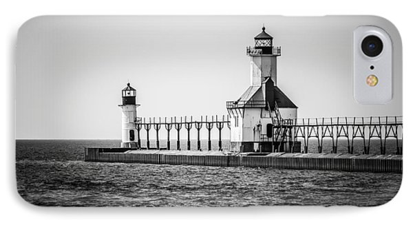 St. Joseph Lighthouses Black And White Picture  Phone Case by Paul Velgos