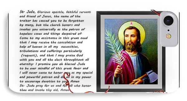 St. Jude Patron Of Hopeless Cases - Prayer - Petition Phone Case by Barbara Griffin