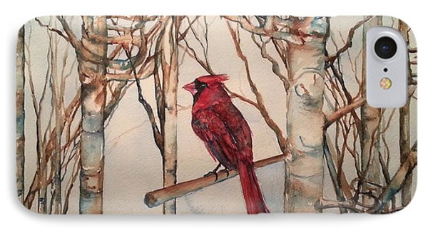 IPhone Case featuring the painting St Louis Cardinal Redbird by Christy  Freeman