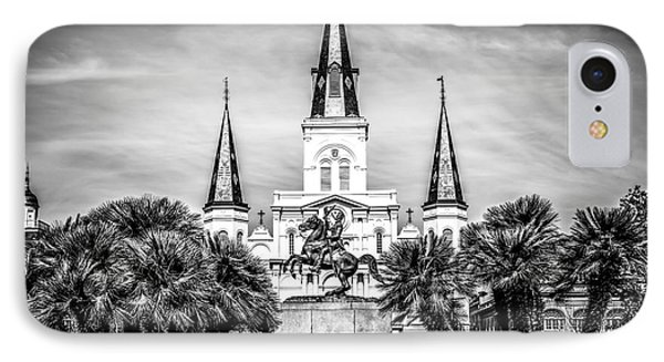 St. Louis Cathedral In New Orleans Black And White Picture IPhone Case by Paul Velgos