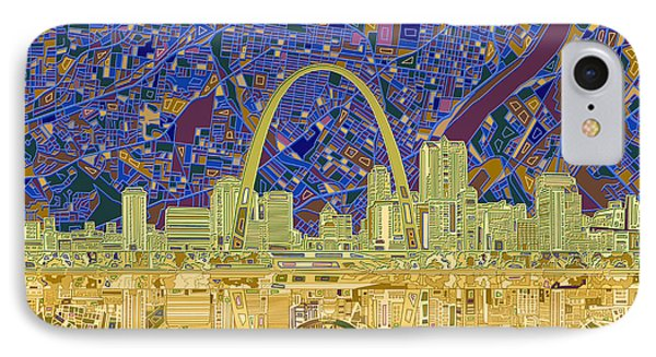 St Louis Skyline Abstract 9 IPhone Case by Bekim Art