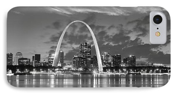 IPhone Case featuring the photograph St. Louis Skyline At Dusk Gateway Arch Black And White Bw Panorama Missouri by Jon Holiday
