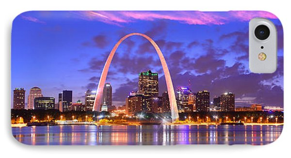 IPhone Case featuring the photograph St. Louis Skyline At Dusk Gateway Arch Color Panorama Missouri by Jon Holiday