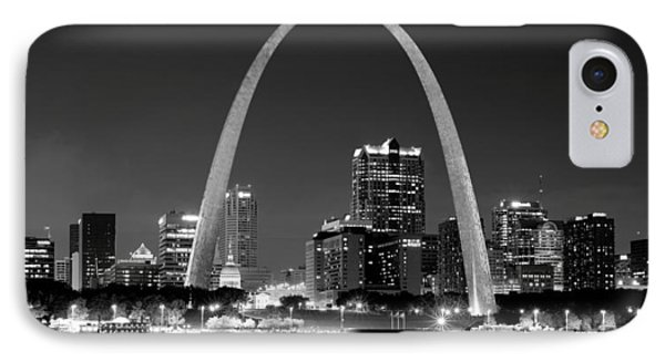 IPhone Case featuring the photograph St. Louis Skyline At Night Gateway Arch Black And White Bw Panorama Missouri by Jon Holiday