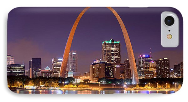 IPhone Case featuring the photograph St. Louis Skyline At Night Gateway Arch Color Panorama Missouri by Jon Holiday