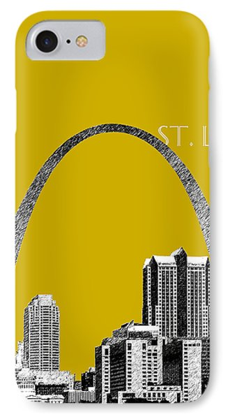 St Louis Skyline Gateway Arch - Gold Phone Case by DB Artist
