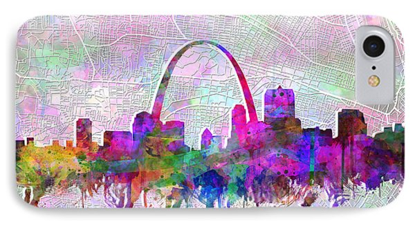 St Louis Skyline Watercolor 6 IPhone Case