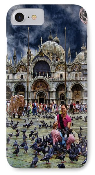 St Mark's Basilica - Feeding The Pigeons Phone Case by Lee Dos Santos