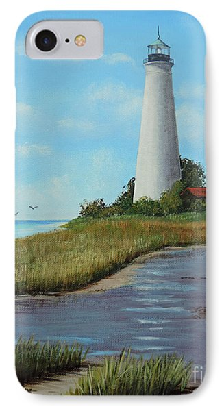 IPhone Case featuring the painting St. Mark's Lighthouse Painting by Jimmie Bartlett