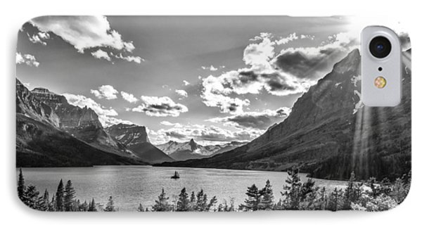 St. Mary Lake Bw IPhone Case by Aaron Aldrich