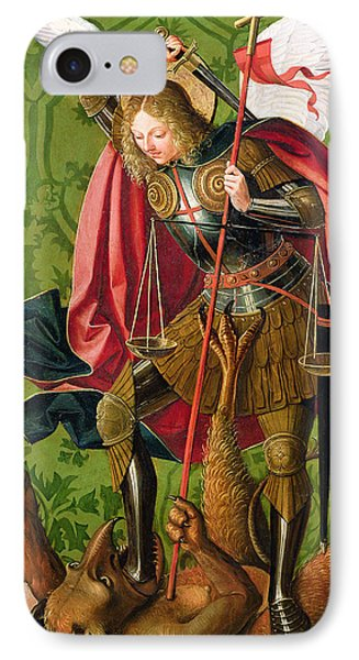 St. Michael Killing The Dragon  IPhone Case by Josse Lieferinxe