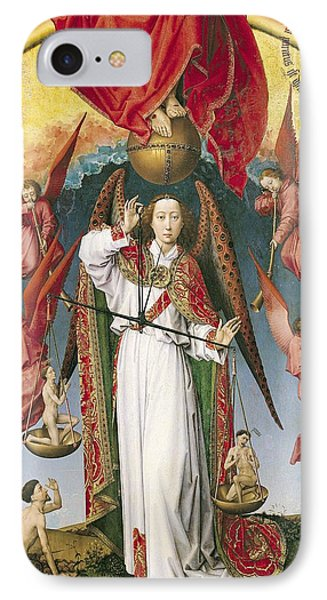 St. Michael Weighing The Souls, From The Last Judgement, C.1445-50 Oil On Panel Detail Of 170072 IPhone Case by Rogier van der Weyden