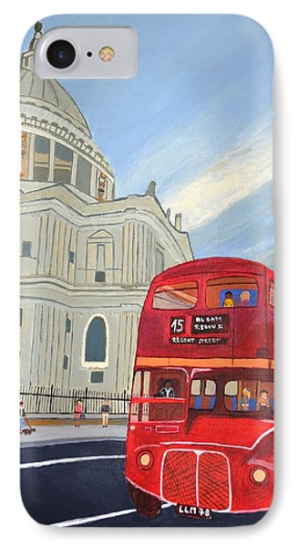 IPhone Case featuring the painting St. Paul Cathedral And London Bus by Magdalena Frohnsdorff