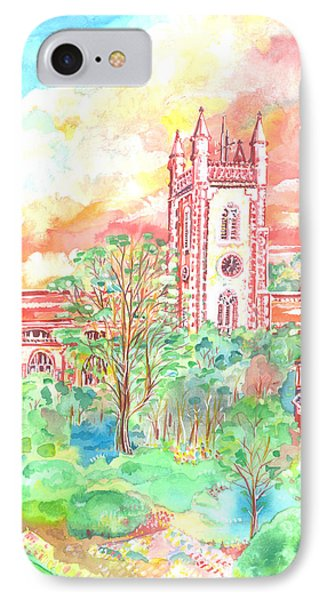 IPhone Case featuring the painting St Peter's Church - St Albans by Giovanni Caputo