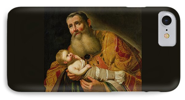 St Simeon Presenting The Infant Christ In The Temple  IPhone Case by Jan van Bijlert or Bylert