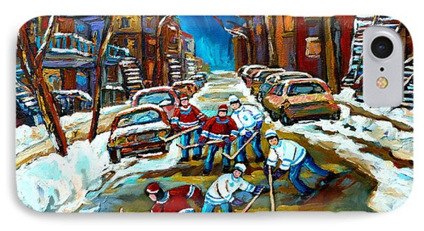 St Urbain Street Boys Playing Hockey IPhone Case by Carole Spandau