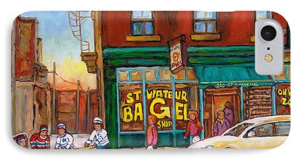 St. Viateur Bagel-boys Playing Street Hockey In Laneway-montreal Street Scene Painting Phone Case by Carole Spandau