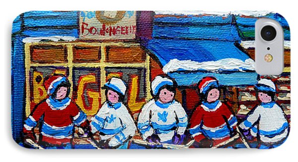 St Viateur Bagel Hockey Game Montreal City Scene Phone Case by Carole Spandau
