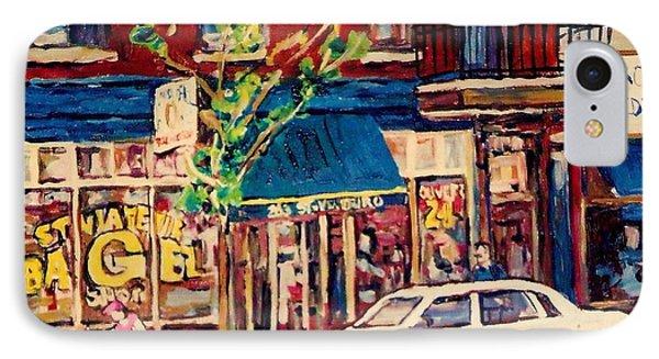 St Viateur Bagel Shop Corner Park Avenue Montreal Streetscenes Phone Case by Carole Spandau