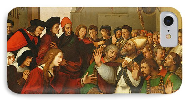 St. Zenobius Raising A Boy From The Dead Oil On Canvas IPhone Case by Ridolfo Ghirlandaio