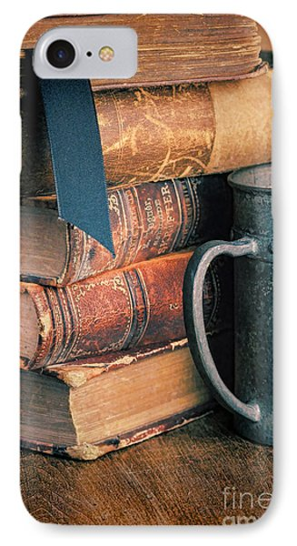 Stack Of Vintage Books Phone Case by Jill Battaglia