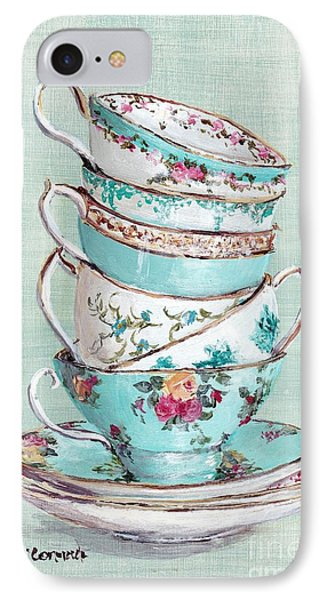 Stacked Aqua Themed Tea Cups IPhone 7 Case by Gail McCormack