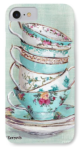 Stacked Aqua Themed Tea Cups IPhone Case by Gail McCormack