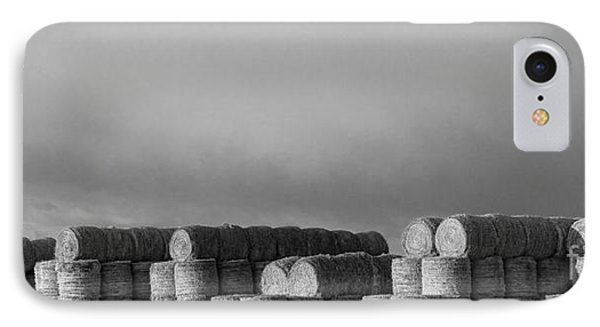 Stacked Round Hay Bales Bw Panorama Phone Case by James BO  Insogna