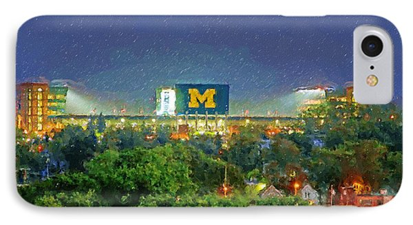 University Of Michigan iPhone 7 Case - Stadium At Night by John Farr