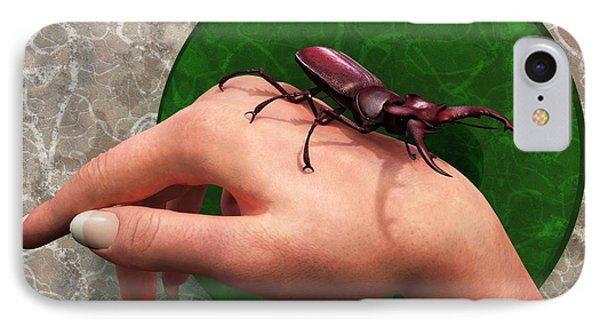 Stag Beetle On Hand Phone Case by Daniel Eskridge