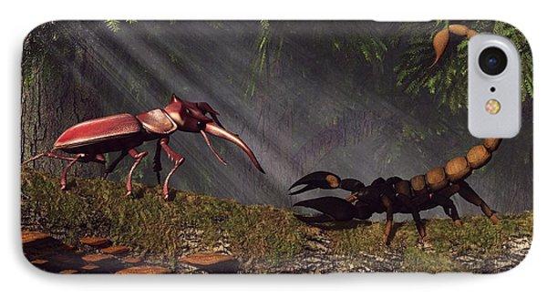Stag Beetle Versus Scorpion Phone Case by Daniel Eskridge
