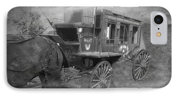 Stagecoach West Bw Textured IPhone Case by Thomas Woolworth