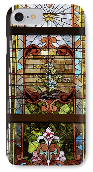Stained Glass 3 Panel Vertical Composite 02 Phone Case by Thomas Woolworth