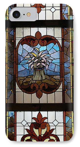Stained Glass 3 Panel Vertical Composite 04 Phone Case by Thomas Woolworth