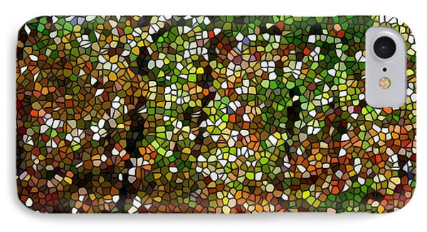 Stained Glass Autumn Colors In The Forest 1 Phone Case by Lanjee Chee