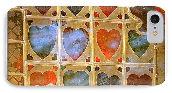 IPhone Case featuring the photograph Stained Glass Hands And Hearts by Kathy Barney
