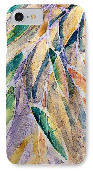 Stained Glass Leaves IPhone Case by Barbara Tibbets