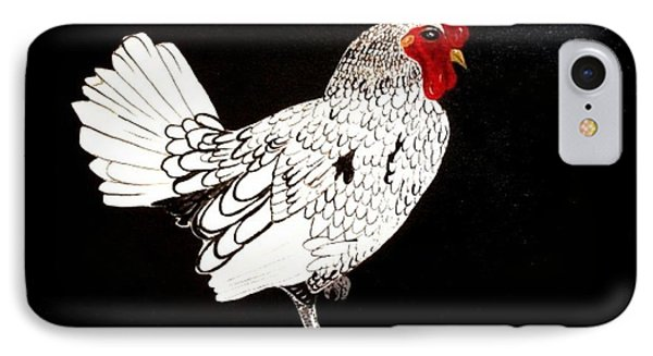 IPhone Case featuring the painting Stained Glass Rooster by Cindy Micklos