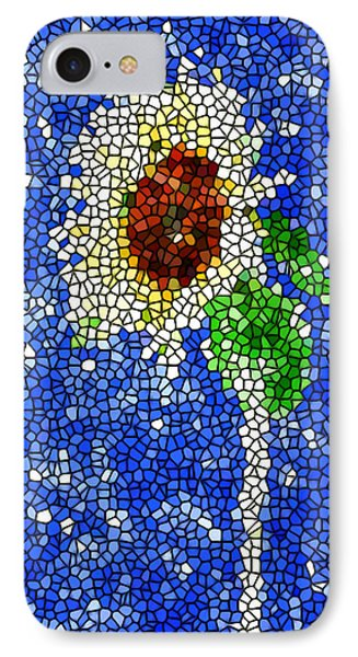 Stained Glass  Sunflower Over The Blue Sky Phone Case by Lanjee Chee