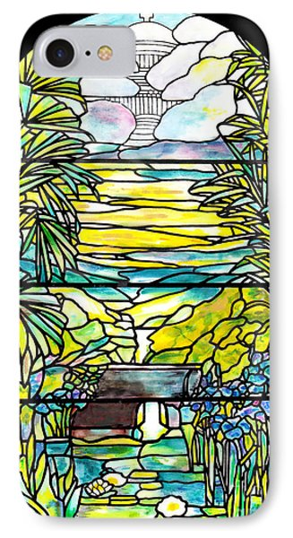 Stained Glass Tiffany Holy City Memorial Window IPhone Case by Donna Walsh