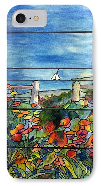 Stained Glass Tiffany Landscape Window With Sailboat IPhone Case by Donna Walsh