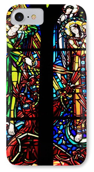 Stained Glass Window At Le Mont Saint-michel IPhone Case