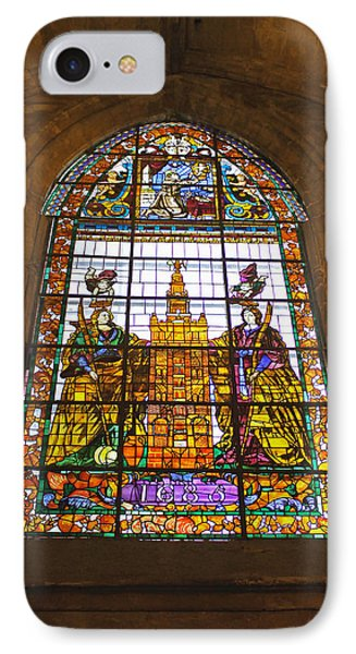 Stained Glass Window In Seville Cathedral IPhone Case by Tony Murtagh