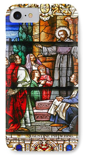 Stained Glass Window Saint Augustine Preaching Phone Case by Christine Till