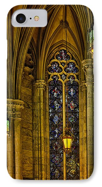 Stained Glass Windows At Saint Patricks Cathedral Phone Case by Susan Candelario