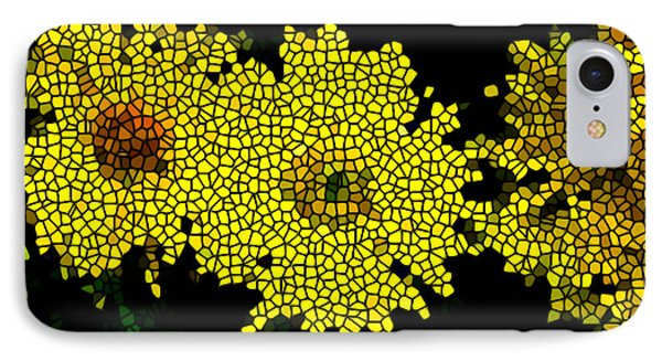 Stained Glass Yellow Chrysanthemum Flower Phone Case by Lanjee Chee